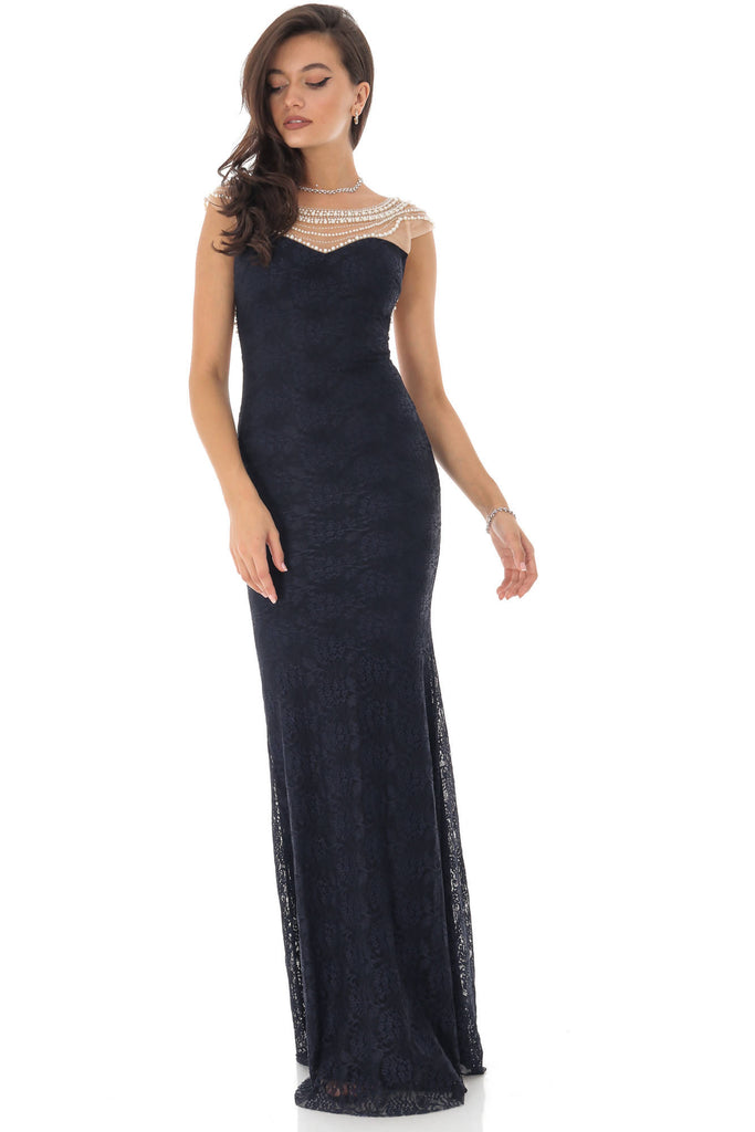 Long dress, navy, with pearls, Aimelia - DR3984