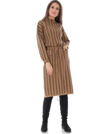 High collar dress, with two front pockets, Aimelia - DR4016
