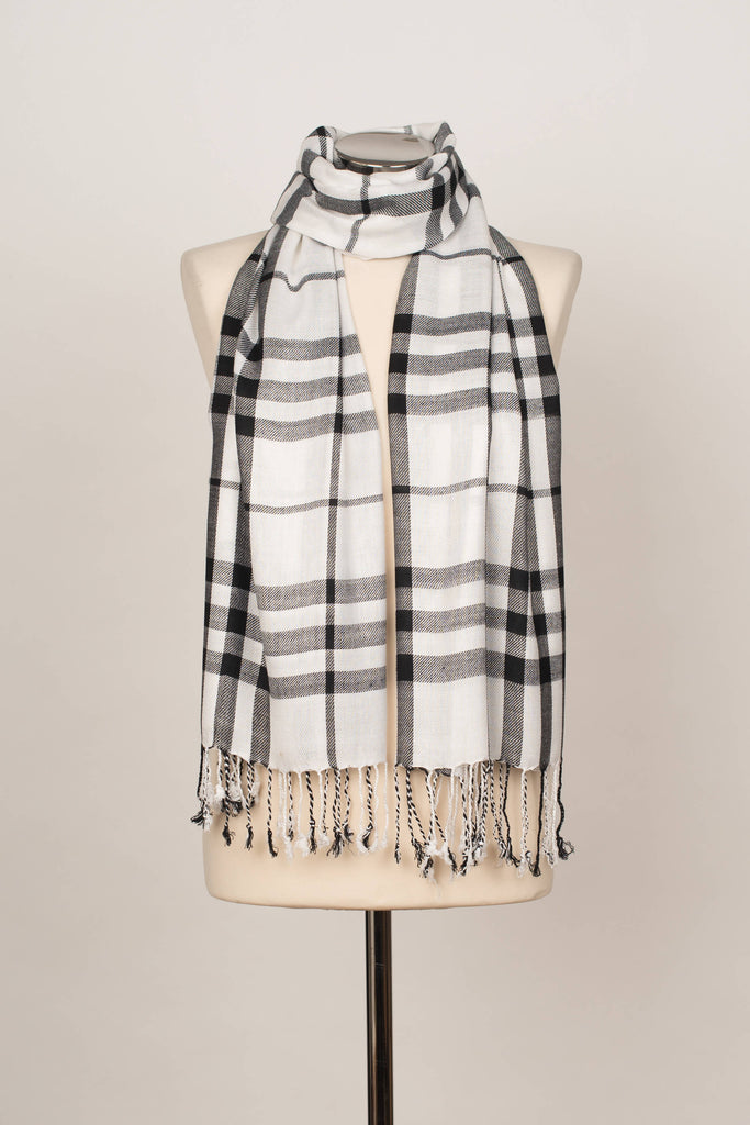 9070 CHECK SHAWL WHITE