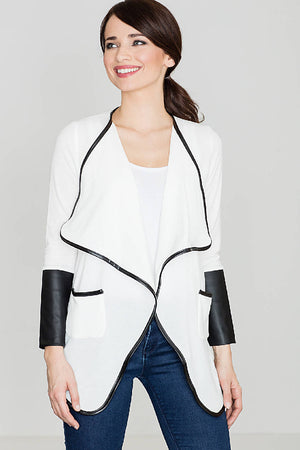 Non Fastening Jacket With Eco-Leather Inserts