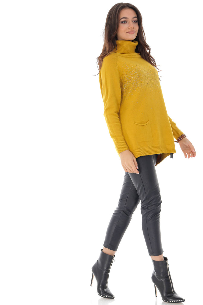 Mustard high neck jumper, with studs, Aimelia - BR2232