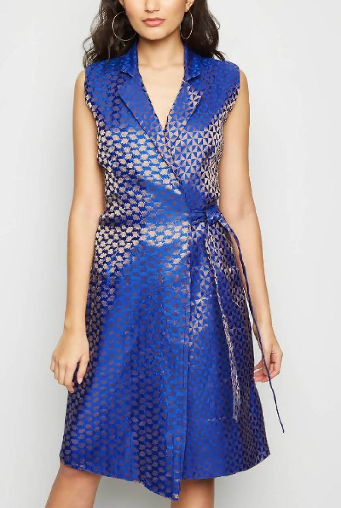 Wrap Tailored Midi Brocade Dress