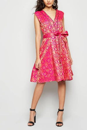 Front Open Flare Skater Brocade Pretty Dress