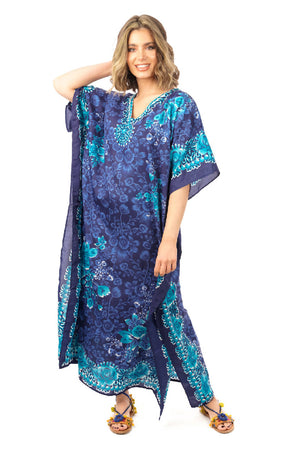 Full Length Maxi Kaftan in Navy Tribal Print
