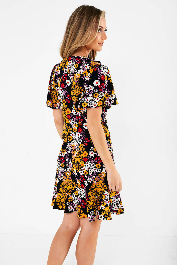 Wrap Over Frill Dress in Floral