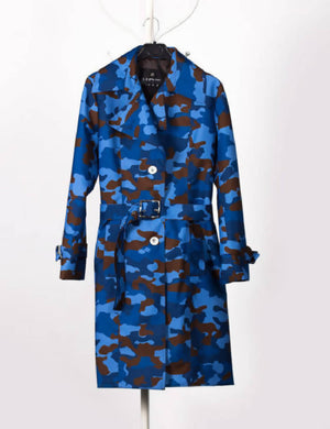 Camouflage Blue Waterproof Trench Coat