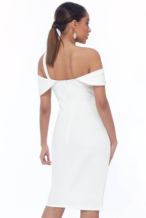 DIAMANTE BELT TRIM ONE SHOULDER MIDI DRESS