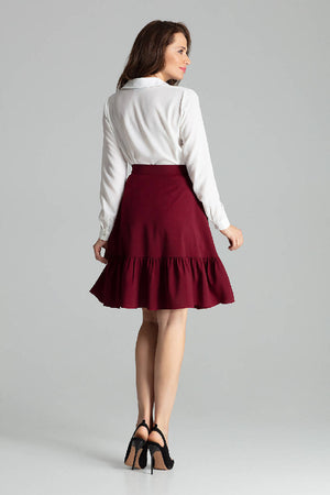 Deep Red Flared Midi Skirt