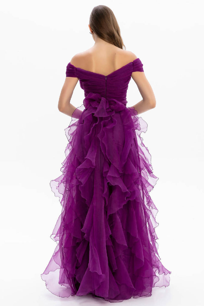 Off-the-shoulder Ruffle Organza Tulle Long Evening Dress