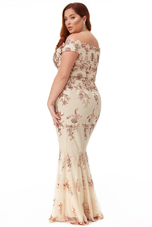 PLUS SIZE SCALLOPED NECK SEQUIN AND LACE MAXI DRESS
