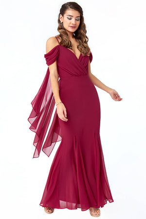 OFF THE SHOULDER WING BACK MAXI DRESS