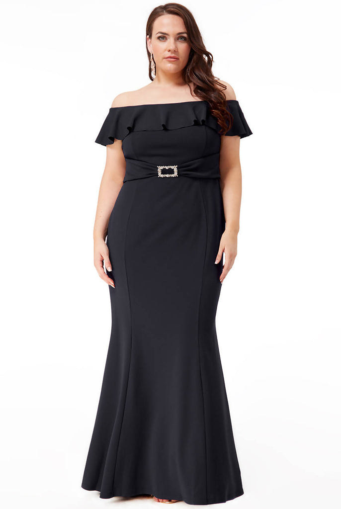PLUS SIZE FRILLED BARDOT MAXI DRESS WITH DIAMANTE TRIM