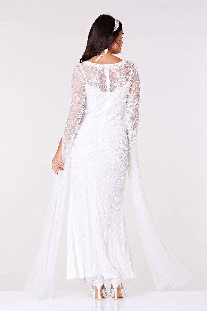 Eugine Long Sleeved Maxi Wedding Dress - Hand Embellished