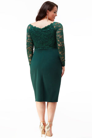 Plus Size Lace Wrap Pleated Midi Dress