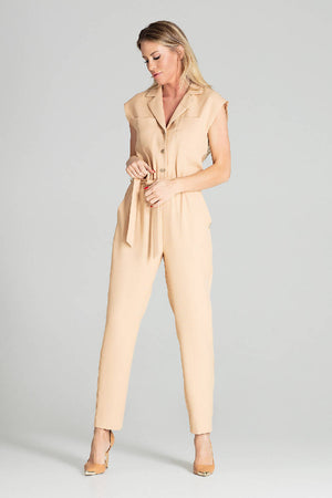 Sleeveless jumpsuit with falling shoulders M695