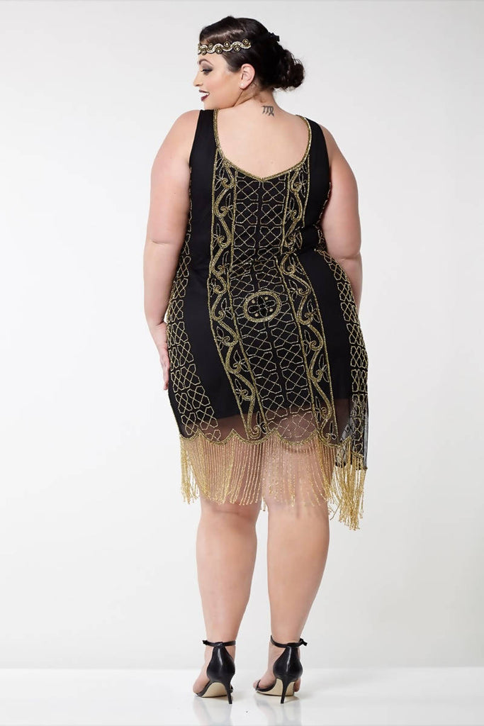 Hand Embellished Isabella Vintage Inspired Fringe Flapper Dress - Plus Size