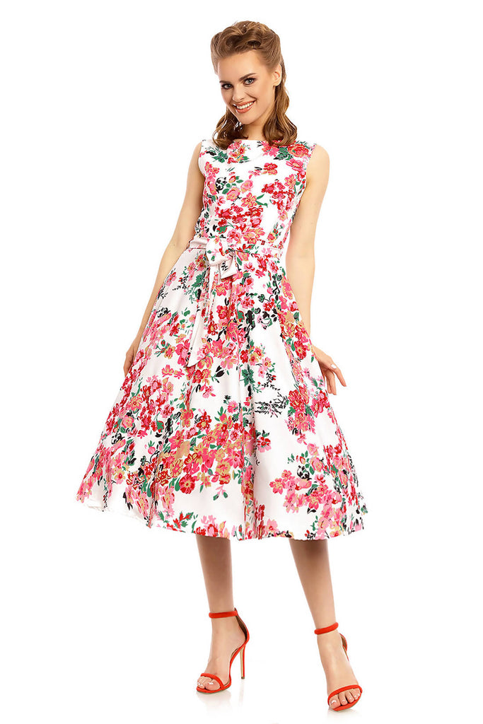 Looking Glam Ladies Retro Vintage Inspired 1940's Midi Summer Dress in Floral Print