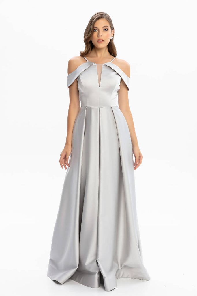 Halter Neck Chest And Sleeve Detailed Long Evening Dress