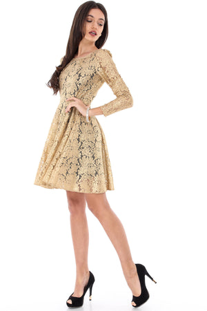 Gold Pleated Front Lace Skater Dress, Aimelia-DR3221