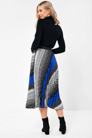 Multi Print Pleated Skirt in Blue