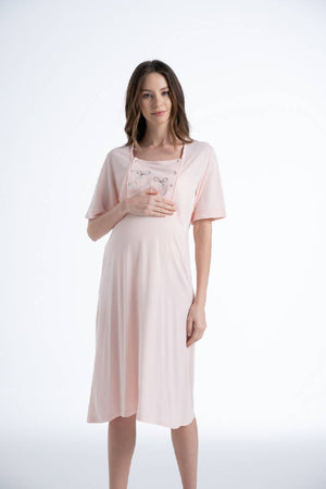 Women Salmon Functional Maternity Dress