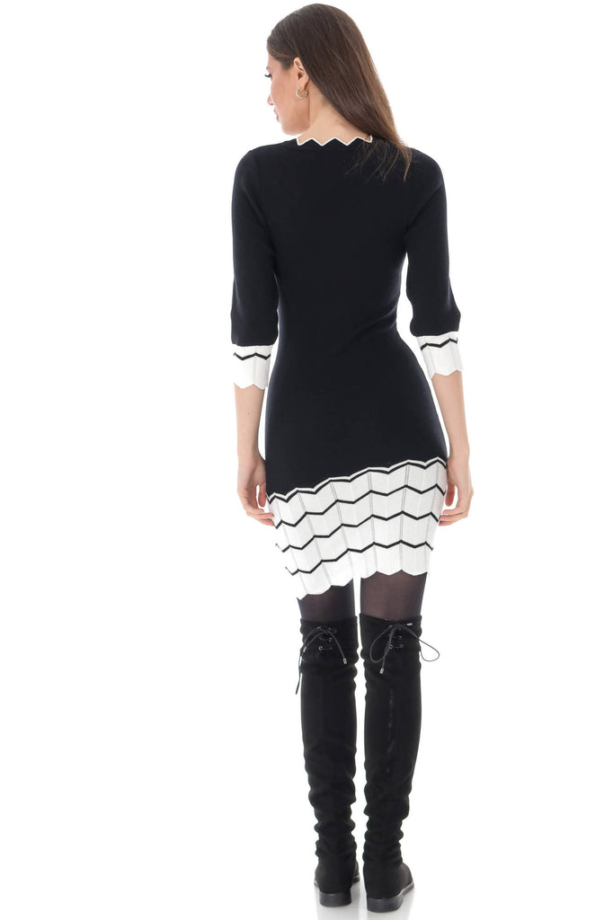 Knitted bodycon dress with a contrasting zig-zag hem, Aimelia - DR4022