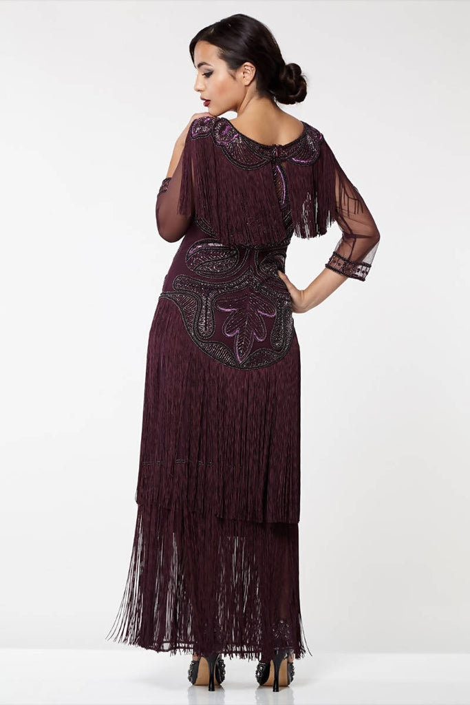 Glam Fringe Flapper Maxi Dress - Hand Embellished