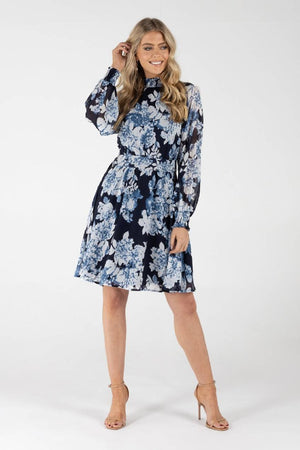 Dolly Short Blue Floral Dress