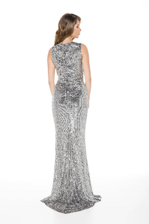 Silver Slit and Sequined Maxi Dress