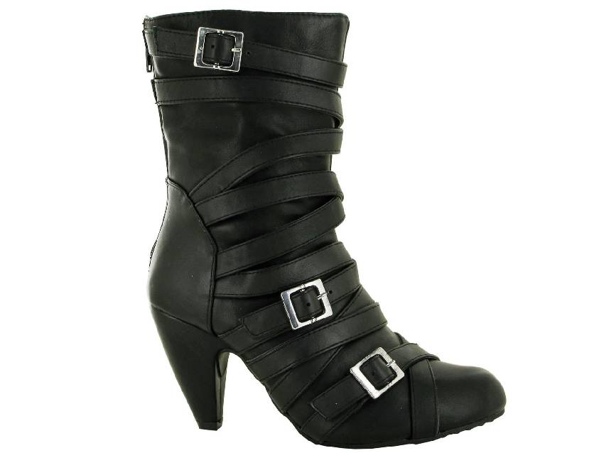 LBO-6789 D2FW0220 BACK ZIP 3 BUCKLE ANKLE BOOT (sizes 4-8)