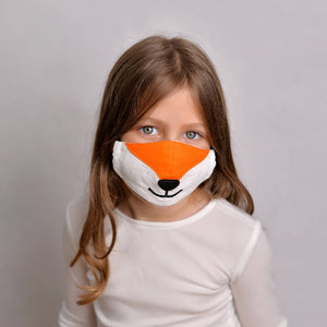 Kids Fox Face Mask with Filter Pockets - Machine Washable, 100% Cotton