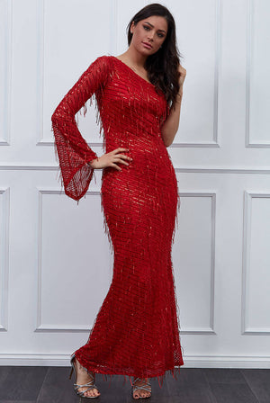 ONE SHOULDER HANGING SEQUIN MAXI DRESS