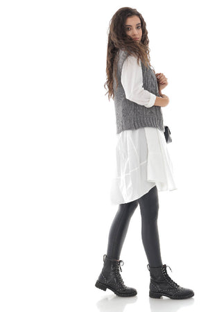 Ladies Grey High neck cable knitted vest - AIMELIA - BR2389