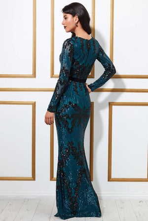 LONG SLEEVE SEQUIN EVENING MAXI DRESS