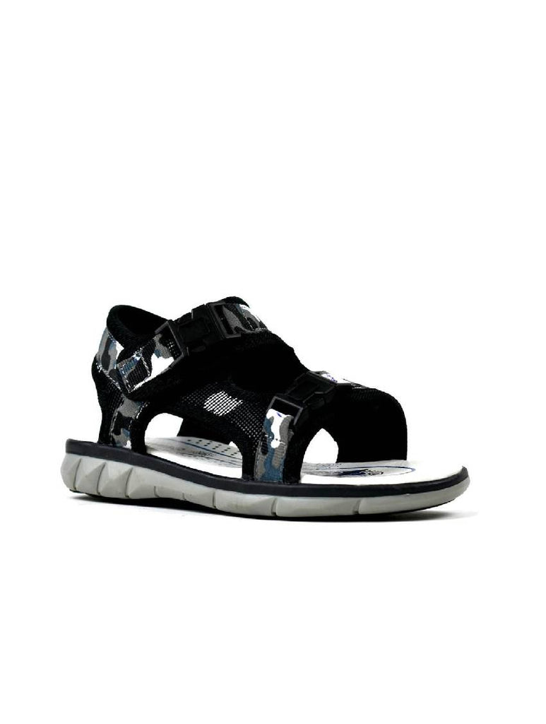 BSA-8012 BOYS DOUBLE FASTENING SANDAL BLACK BLUE / BLACK GREY - PACK OF 12