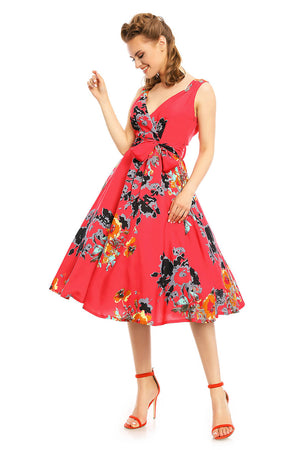 Ladies 1950's Retro Vintage Pin Up Rockabilly Prom Swing Rose Floral Dress - Pink