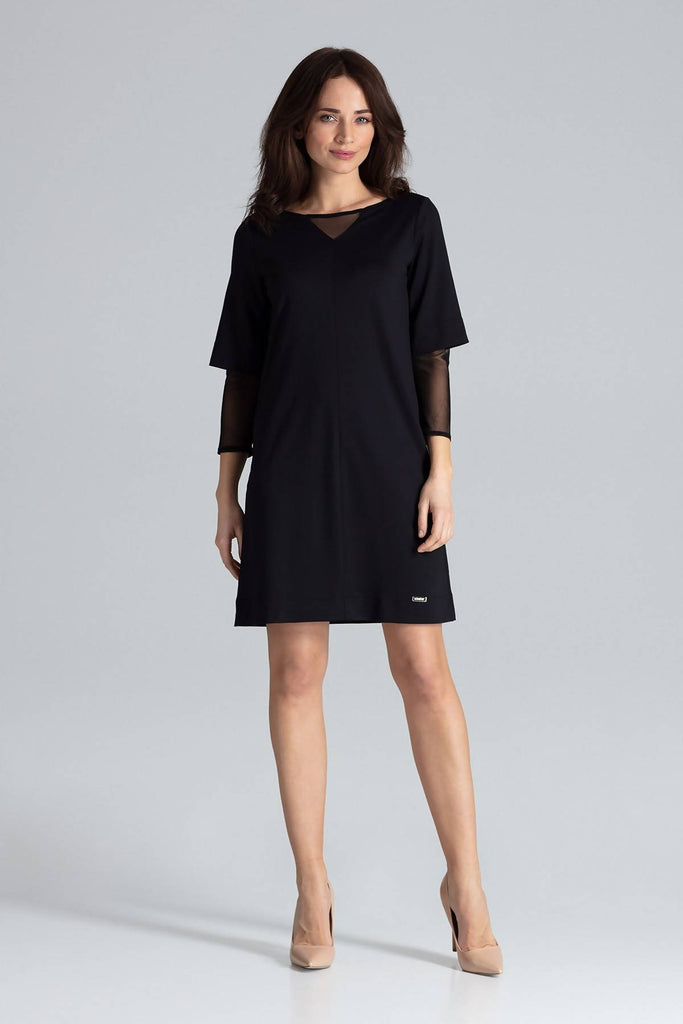 Mesh sleeve Shift Dress L015