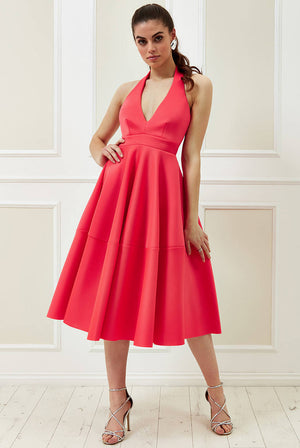 VICKY PATTISON – HALTER NECK A-LINE MIDI DRESS
