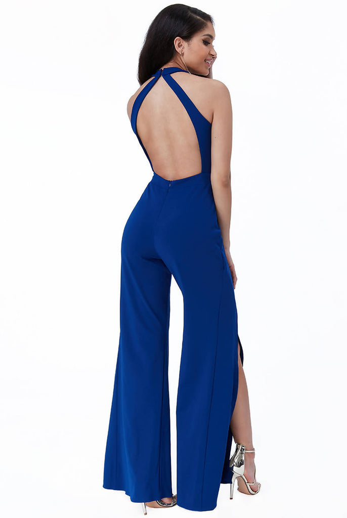 Open Back Flared Leg Jumpsuit