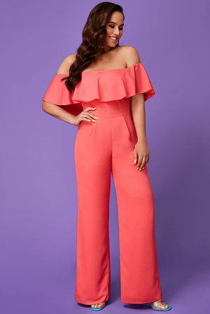 VICKY PATTISON – FRILLED OFF THE SHOULDER JUMPSUIT
