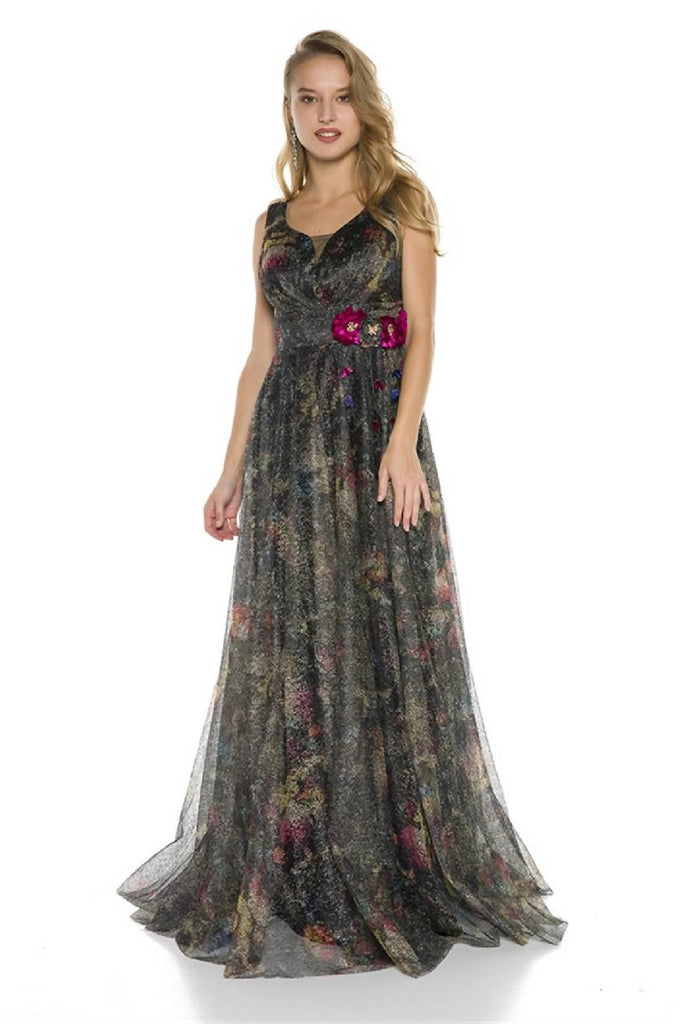 Floral Detailed Tulle Long Evening Dress