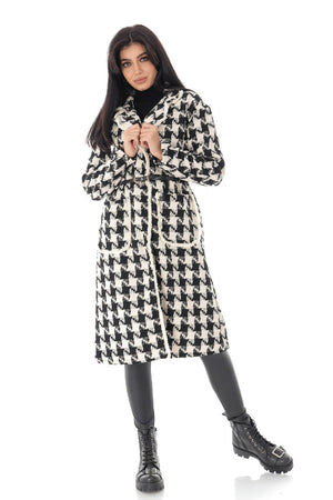 Ladies Elegant cream and black coat with a dog tooth weave - AIMELIA - JR527