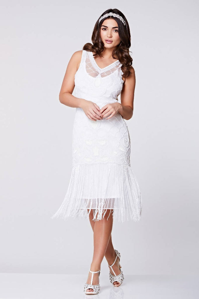 Hand Embellished Victoria Fringe Flapper Dress - Plus Size