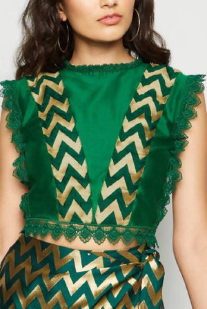 Crop Brocade Lace Blouse Green