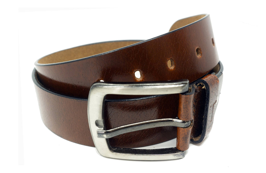 Men's Tara Shiny Brown Leather Belt