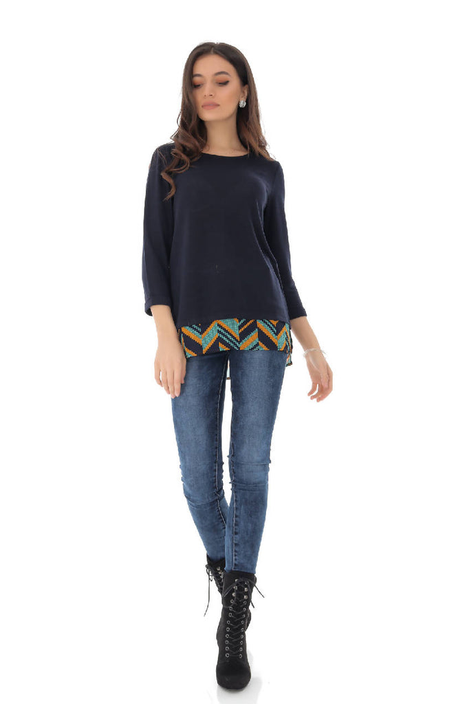 Fine knit top with a colourful aztec printed hem - BR2256 - Aimelia