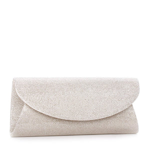 Dominique Champagne Glitter Mesh Curve Flap Clutch Bag