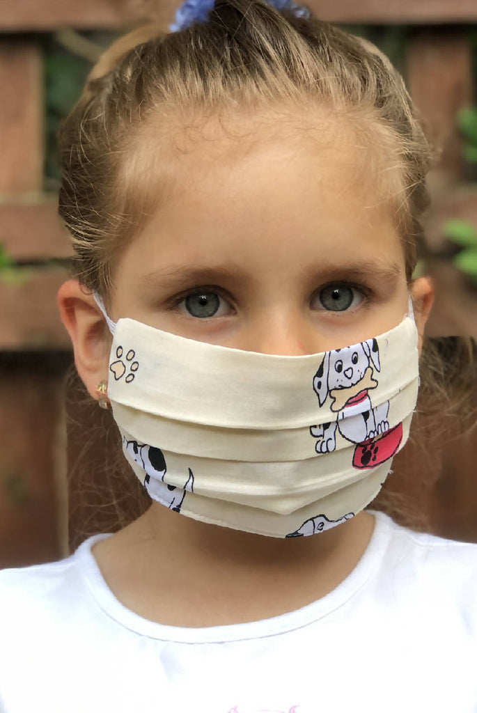 Kids pleated printed mask