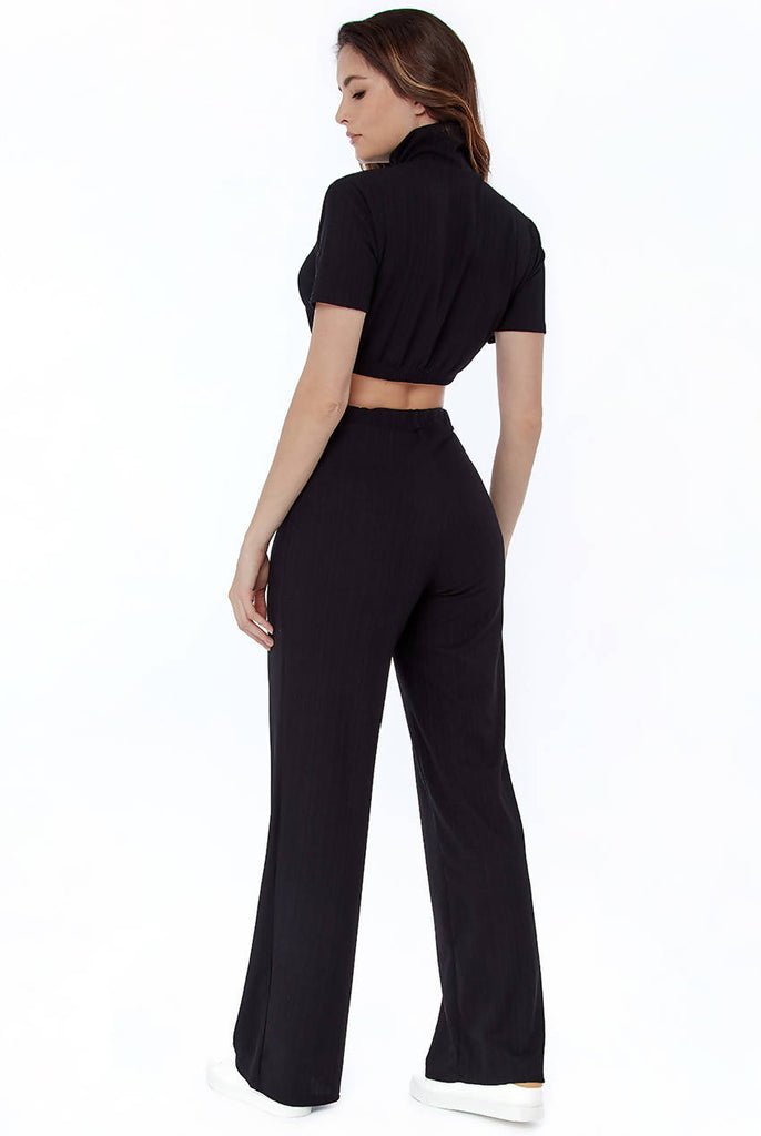 High Neck T-Shirt and Wide-leg Trousers Lounge Set