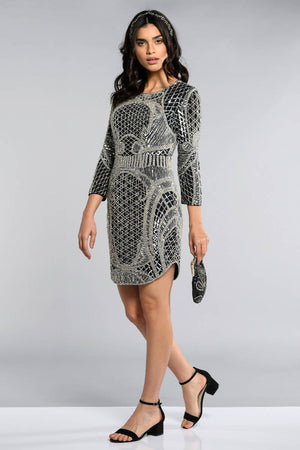 New York Long Sleeved Flapper Dress - Hand Embellished